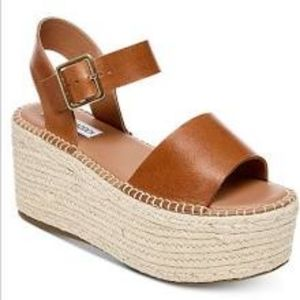 Steve Madden Cabo Wedge Leather Sandals Cognac